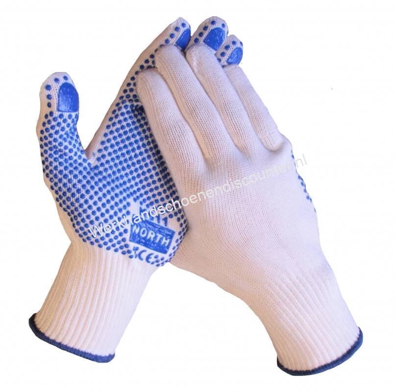 Katoenen Polyester handschoen met blauwe antislip PVC nopjes in de handpalm