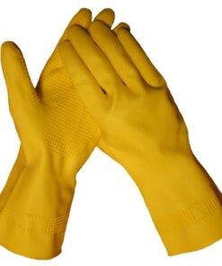 werkhandschoenendiscounter huishoud latex geel met extra grof profiel en vlokvoering. CAT I